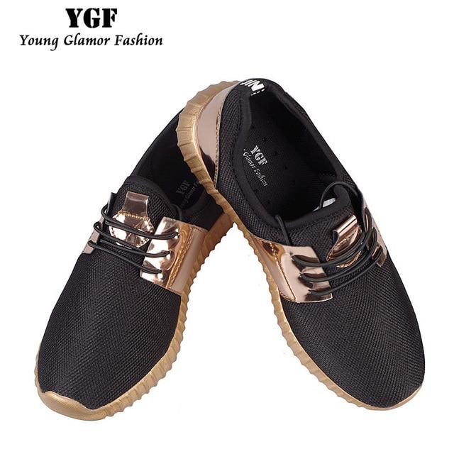 YGF Мужская Обувь Повседневная 2017 Мода Воздуха Mesh Глянцевый Золото Взрослых Мужская Обувь Дышащий на шнурках Легкую Обувь Унисекс