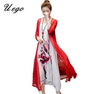 Женское платье-двойка Uego, платье из хлопка и льна с принтом лотоса на весну и лето 2020