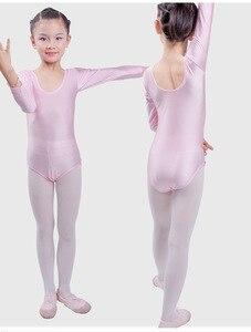 Image 2 - Гимнастическое трико с длинным рукавом, Детские балетные трико для девочек, танцевальный боди, боди, эластичный купальник из спандекса для танцев