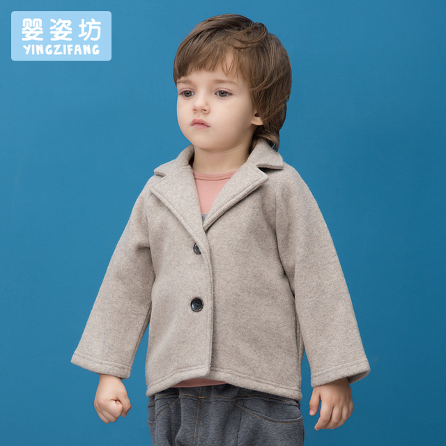 Yingzifang Boys' Autumn Winter Fashion European and American Style Woolen Solid Colour Short Suit Coat