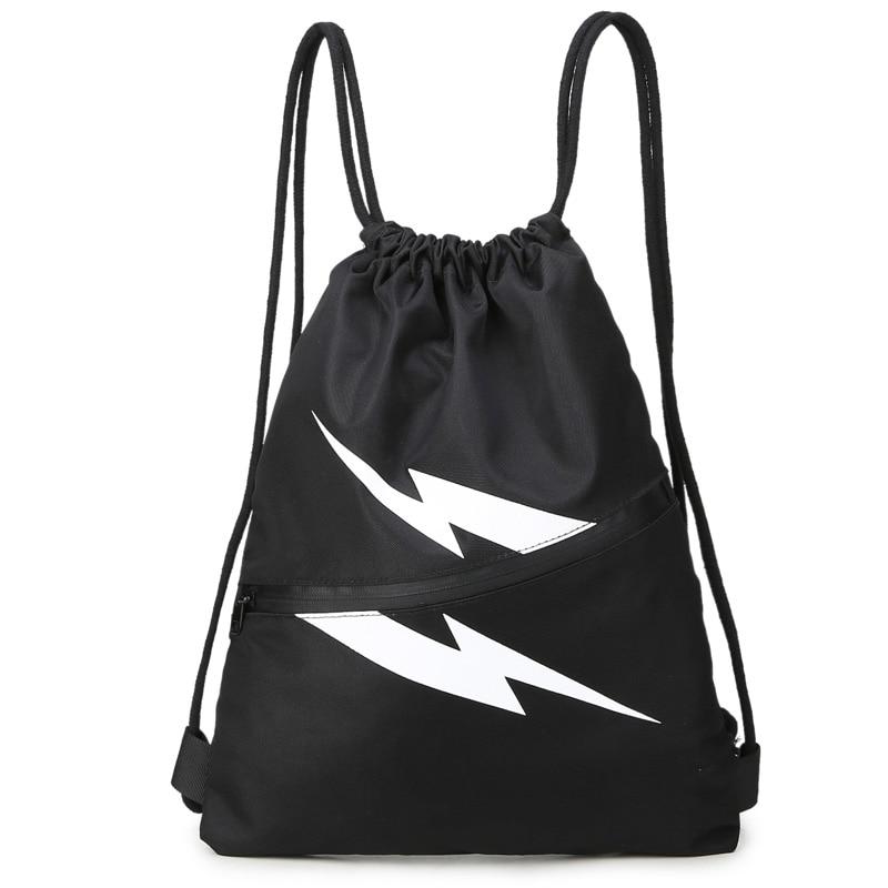 School Bag lightning Drawstring Backpack For Teenage Women Men Waterproof Drawstring Bag Packing Cubes Large Capacity