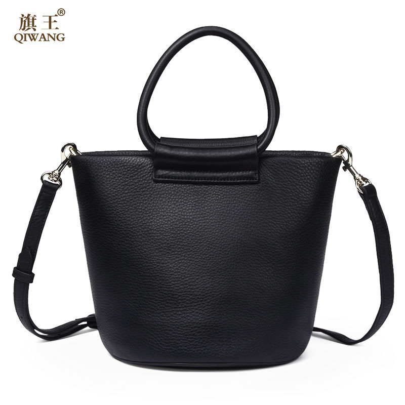 Qiwang Summer Women Shoulder Bags 100% Genuine Leather Bags Women Handbags Bucket Round Cowhide Shoulder Bags Ladies 2018 new fashion top handle bags women cowhide genuine leather handbags casual bucket bags women bags rivet shoulder bags 836