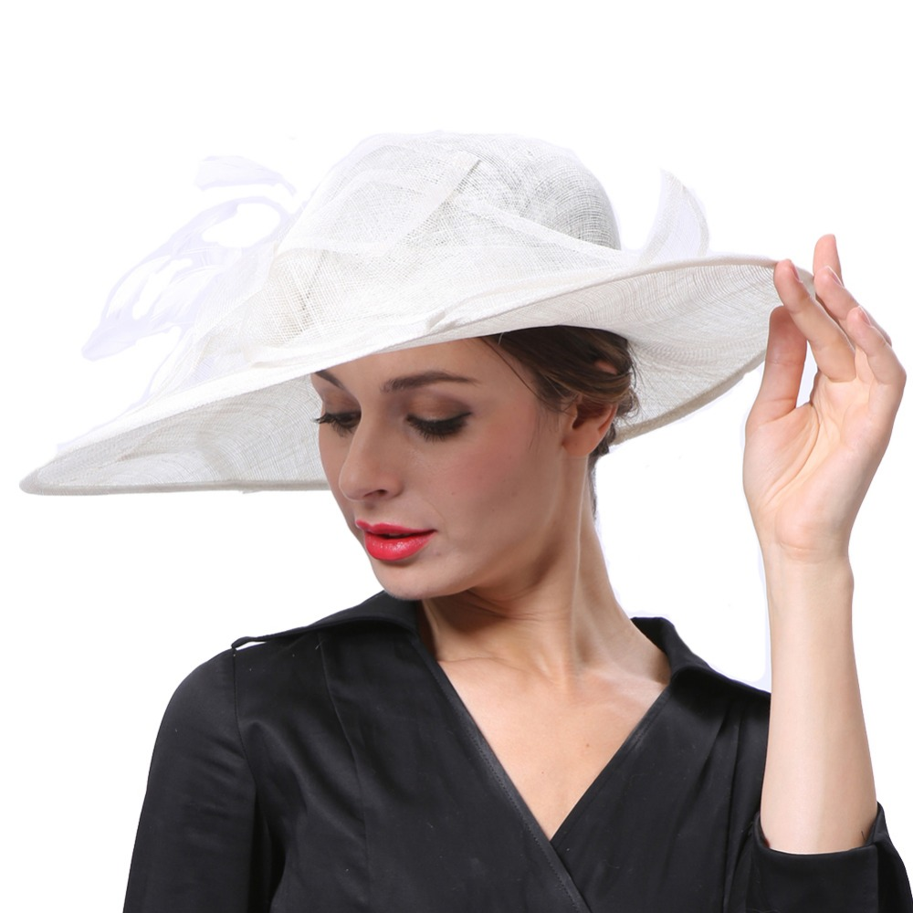 June's Young Women Hats White Color Party Wedding Wear