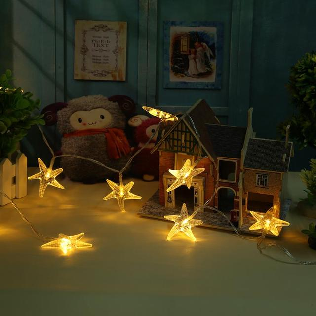 New Year Decoration String Lights 10 Led Beach Party Lighting Strings With Starfish Covers Warm White Brand Ornaments