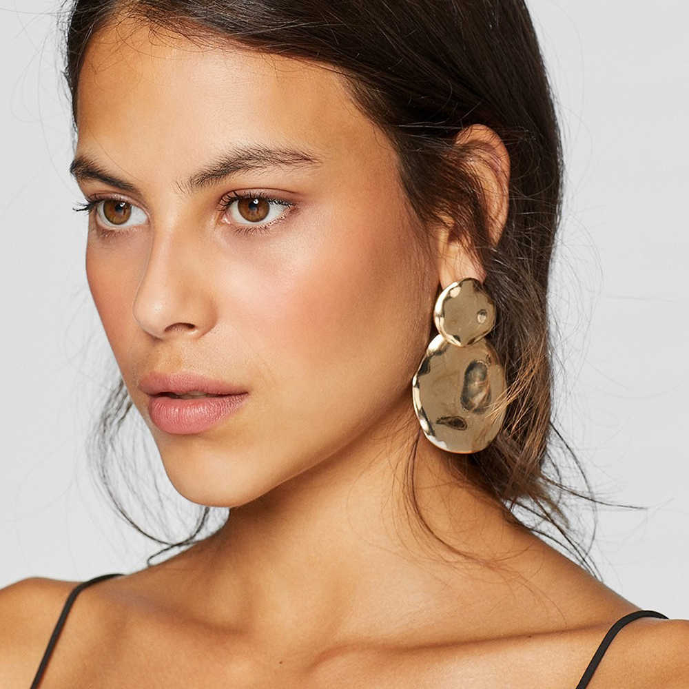 2019 New Gold Alloy Dangle Earrings For Women Vintage ZA Statement Earring Bohemia Female Party Jewelry Accessories Punk Style