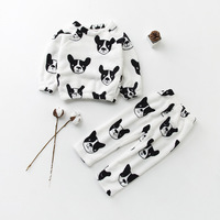 2018 Baby Boys Girls Pajamas Fashion Cute Dog Cartoon Pattern Children Clothing Keep Warm Cotton Kids