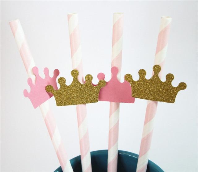 Rosa y oro Pajitas con coronas para princesa fiesta colores personalizados  es una niña baby shower dd69c8cd6c8
