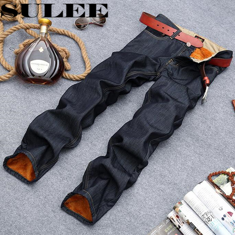 Sulee Brand Winter Men Jeans Thicken Fleece Trousers Brand Clothing New Fashion Casual Trousers Male Quality Pants Plus size 42 sulee brand 2017 new men skinny jeans stretch fashion classic blue and black slim brand jeans male trousers plus size 38 40 42