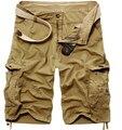 Горячая распродажа мужчины свободного покроя хаки 100% хлопок шорты насыпных грузов военные шорты прямо до колен шорты Pantalones Cortos хомбре
