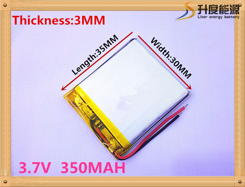 Mp3 Mp4 Player replacement battery for 3.7v 350mAh 3.0*30*35mm 303035 rechargeable li polymer battery 303035