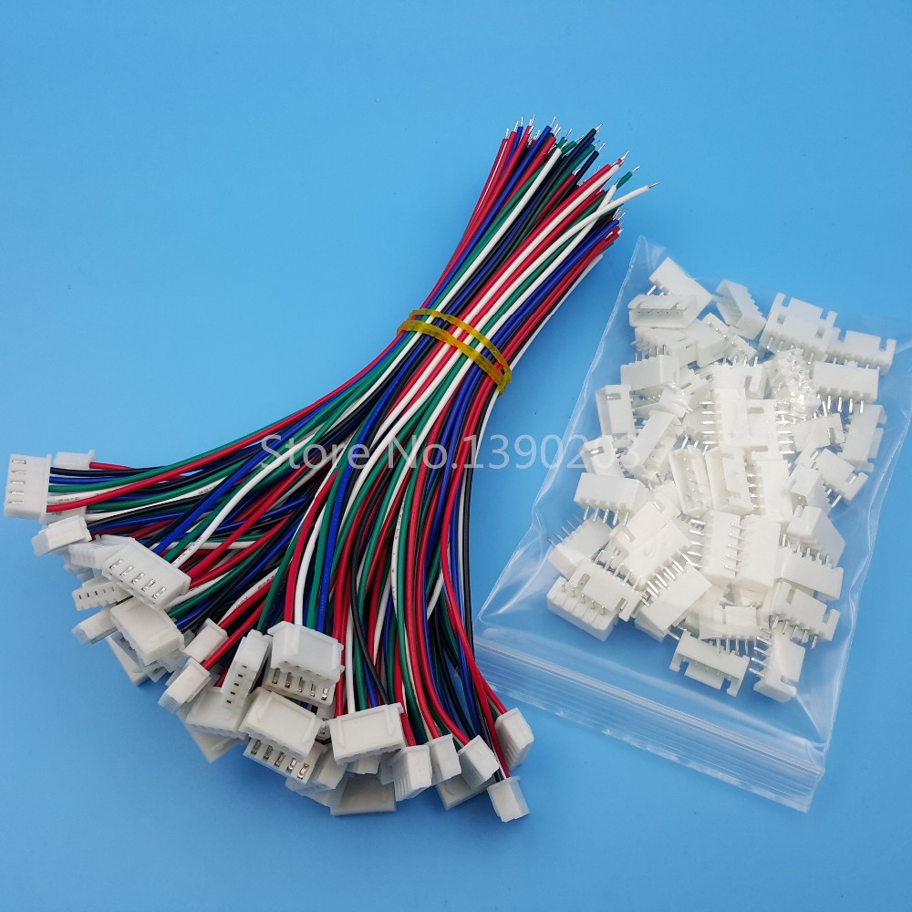 50Sets XH Pitch 2.54mm 5Pin Single-Head Wire To Board Connector 15cm 24AWG With Socket 2 0mm pitch ph connector plug socket plastic shell wire to board pcb weld plate 2p3p4p5p6p7p8p9p10p11p12p13p14p15p16p