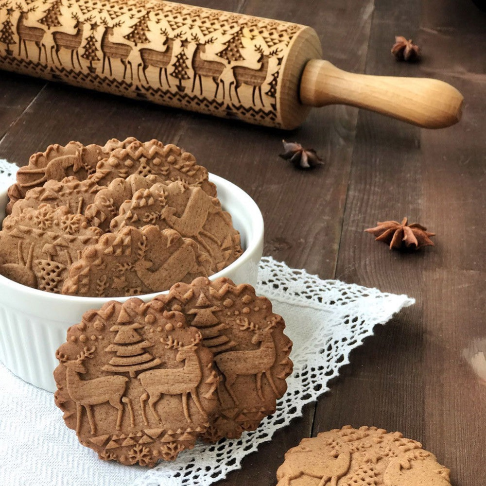 43 5cm Christmas Embossing Rolling Pin Baking Cookies Noodle Biscuit Fondant Cake Dough Engraved Roller Reindeer