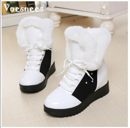 Women Boots High Quality Classic Lace-Up Women Winter Diamond Thick Soled Boots Ankle Snow Boots Female Warm Fur Plush Insole zorssar 2017 new classic winter plush women boots suede ankle snow boots female warm fur women shoes wedges platform boots