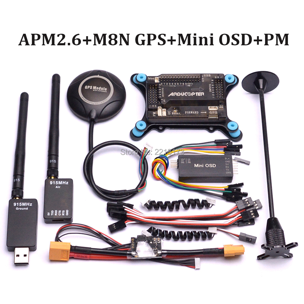 APM2.6 APM 2.6 Flight Control Board 6M / 7M / M8N 8N GPS with compass GPS Holder & Power Module & Mini OSD 915Mhz 915 telemetry apm apm2 8 flight controller board minim osd neo m8n 8n 7m gps w stand holder power module for rc quadcopter multicopter
