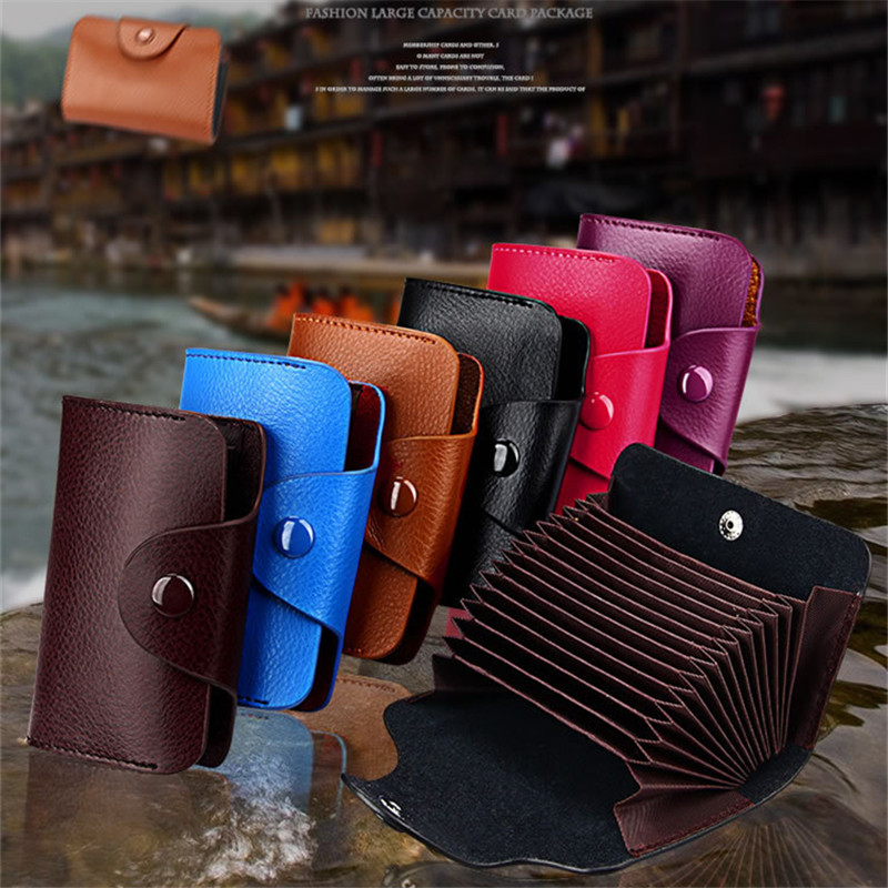 Genuine Leather Unisex Business Card Holder Solid Put 13 Pcs Credit Cards Storage Card ID holders Case Supplies Women cardholder 2018 pu leather unisex business card holder wallet bank credit card case id holders women cardholder porte carte card case