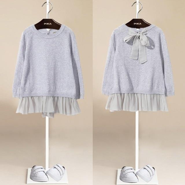 YUB 2016 Spring fashion girls knitted sweater stitching Chiffon casual shirt sleeved dress shirt off two
