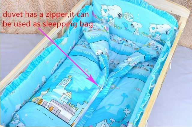 Promotion! 4pcs Crib Bedding Sets,Kids Accessory Newborn Baby Bed Set,(bumper+matress+pillow+duvet )