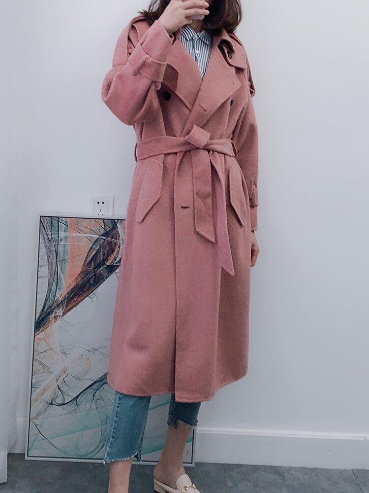 Women Wool Coat 2018 New Fashion High Quality Designer Women's Designer Alpaca Cashmere Pink Coat Medium Length Korean Trench