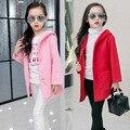 Девушки Новый Корейский Длинный Отрезок Дети Ребенок Шерстяные Пальто Зимней Моды Дети Одежда Красный Розовый