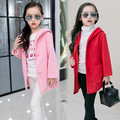 Girls New Korean Long Section Children Child Baby Woolen Coat Winter Fashions Kids Clothing Red Pink