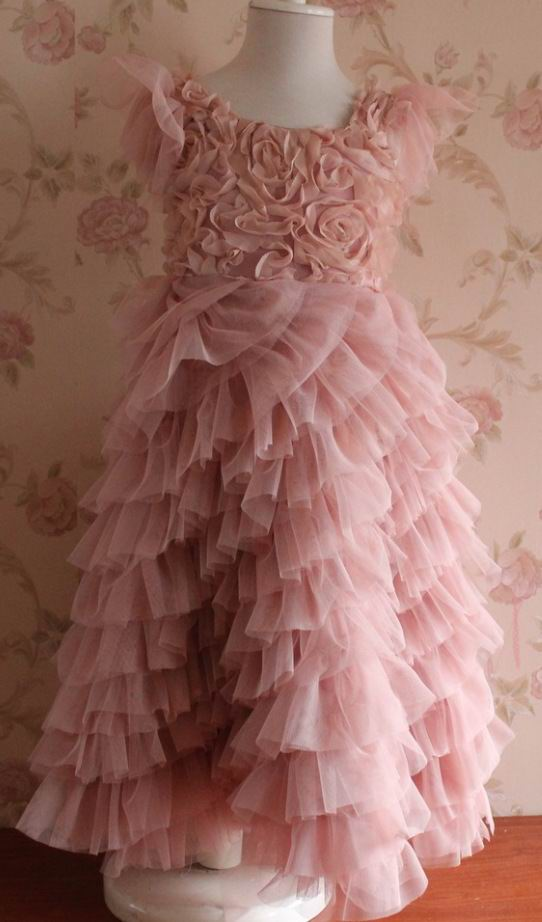 Retail 2015 Girl Wedding Dresses Rose Flower Lace Layered Party Dresses 8036