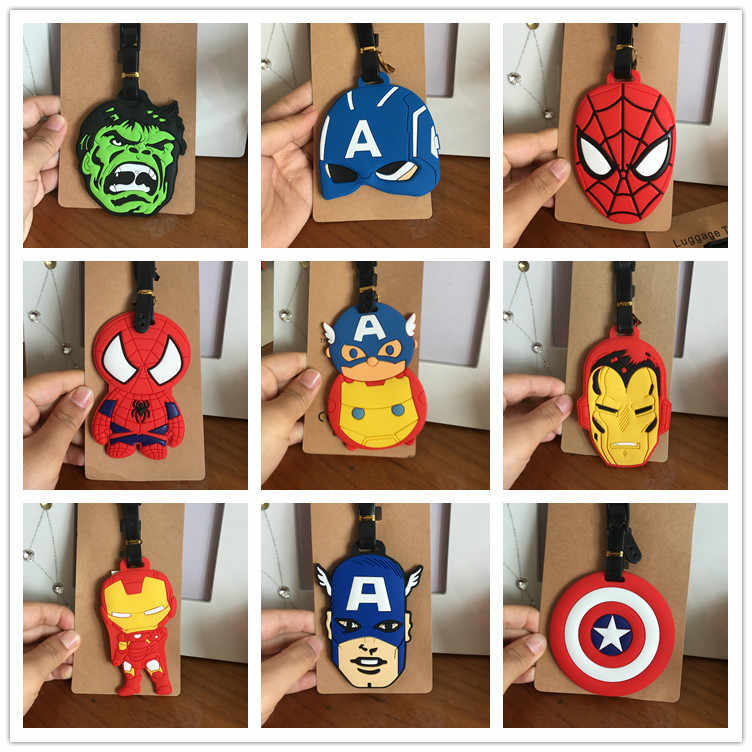 Silica Gel Luggage Tags Marvel Comics Captain Hulk Spiderman Baggage Name Tags Suitcase Address Label Holder Travel Accessories