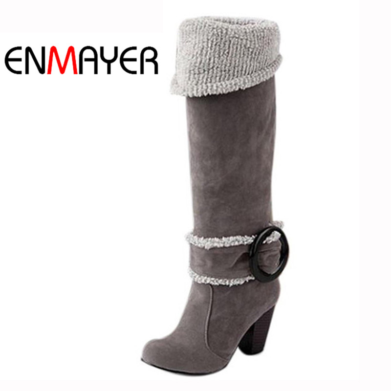 ENMAYER Women Over Knee High Boots Sexy Square High Heels Winter Shoes Buckle Decoration Winter Shoes for Women Euro size 34-43 цена
