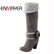 ENMAYER Women Over Knee High Boots Sexy Square Heels Winter Shoes Buckle Decoration for Euro size 34-43