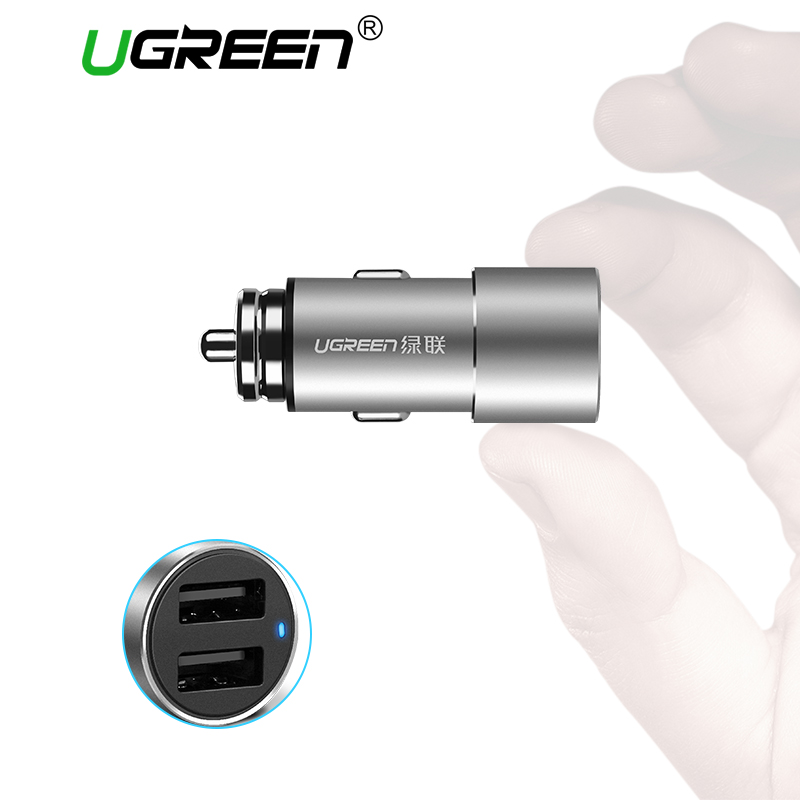 Ugreen USB Car Charger for Xiaomi Mini Dual Car-Charger 3.6A Universal Fast Mobile Phone Charger for for iPhone X 8 7 6S Charger
