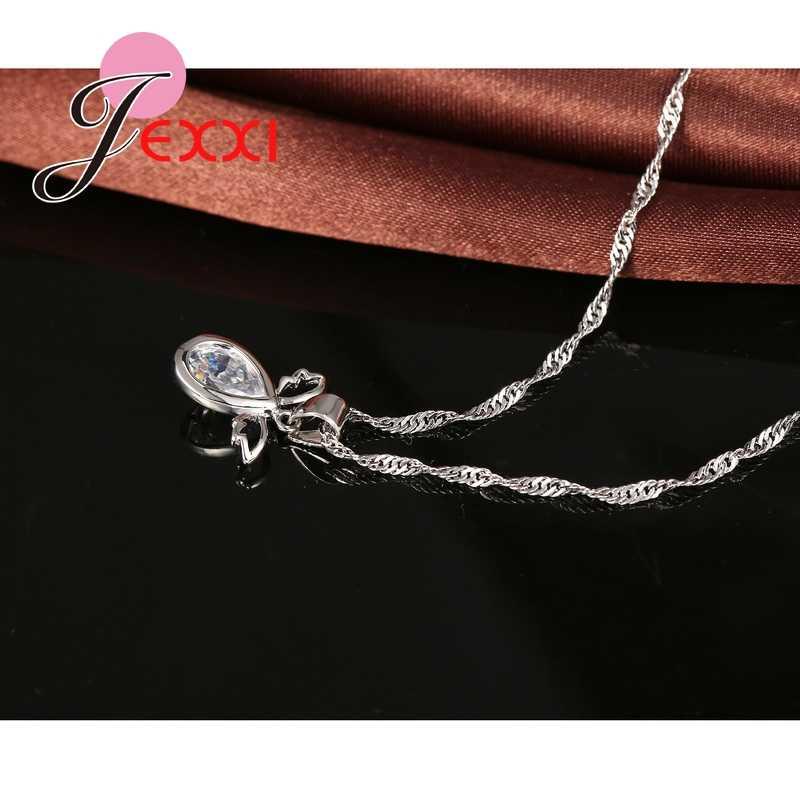 925 Sterling Silber Flügel Fliegen Zirkonia Wasser Tropfen Kristall Halskette Brincos Ohrringe Set Hochzeit Kragen Zubehör