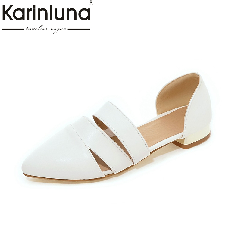 KarinLuna 2018 Spring Summer Fashion Large Size 32-43 Slip On Flats Shoes Women Leisure Comfortable Top Quality Female Shoes new 2017 spring summer women shoes pointed toe high quality brand fashion womens flats ladies plus size 41 sweet flock t179