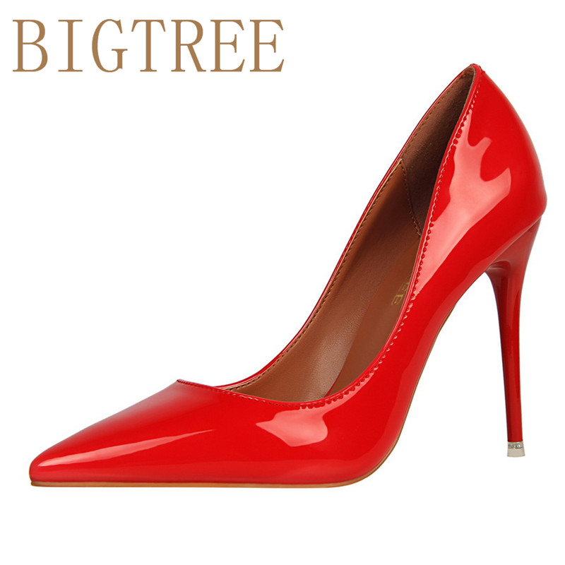 BIGTREE Spring Autumn Simple Shallow mouth women pumps Pointed Sexy Was thin Nightclub 10 CM Fine high heels shoes spring autumn women pumps pointed toe thin high heels pumps lady casual slip on shallow shoes simple party slim nightclub pumps