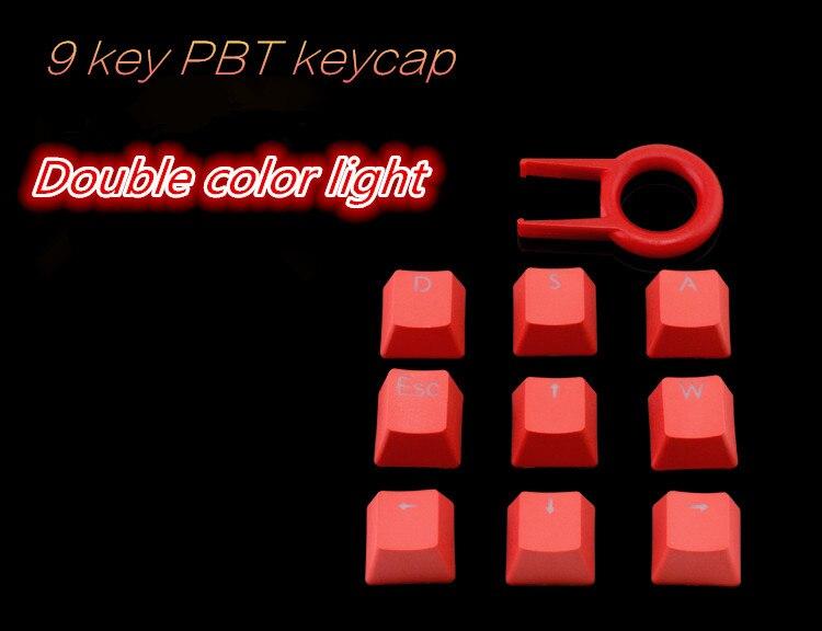 9 Keycap PBT, Double Color Keycap OEM Cherry MX Switch WASD & Direction Key DIY Keyboard Keycap
