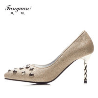 Fanyuan Italian Brand Retro Rivet Pumps Women Shoes Sexy Pointed Toe Fetish High Heels Bling Ladies Party Wear Thin High Heels
