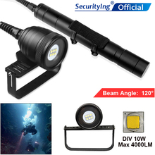 SecurityIng 10W Waterproof 4500 Lumens L2 LED Underwater 200m with 5 Modes Diving Flashlight Support Professional