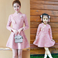 2019 Spring Winter Mother Daughter Long Sleeve Dresses Chinese Cheongsam Cute Lolita Style Mom and Daughter Baby Dress Family