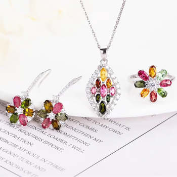 gemstone jewelery factory fashionable 925 sterling silver natural flower-designed tourmaline earring necklace pendant ring