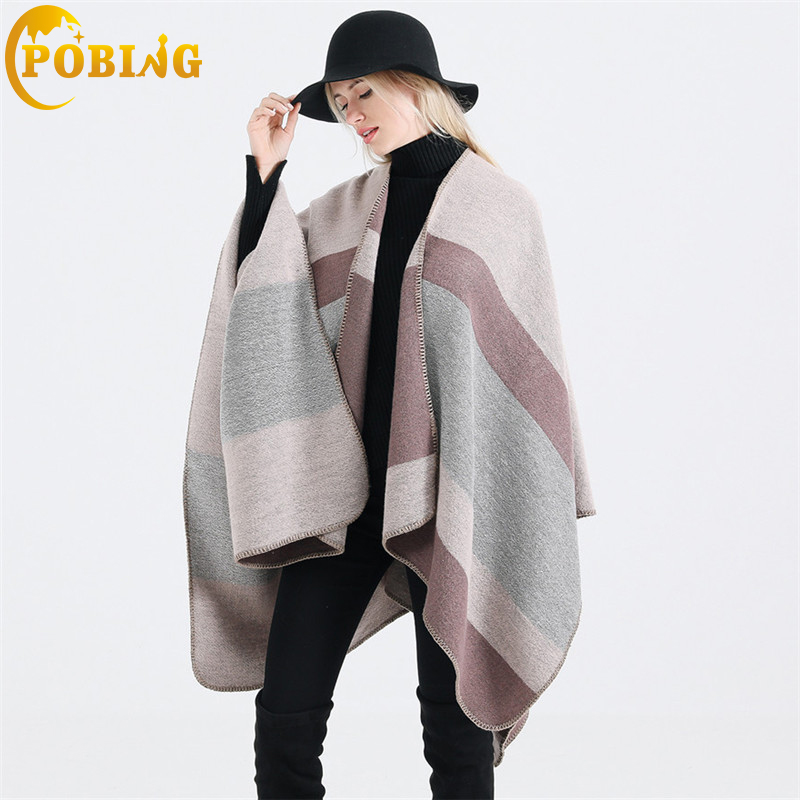 POBING Women Poncho Winter Cashmere   Scarf   Unisex Basic Silver Line Striped Stoles Soft Pashmina Shawls And   Wraps   Tippet Capes