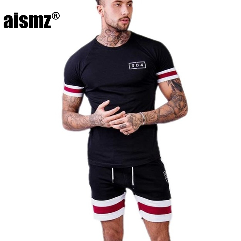 Aismz New Summer Set Men Causal Beach Suits Shorts 2PCS Sweatsuit+Pants Fashion Tracksuit Mens Sportsuits T shirt+Shorts ...