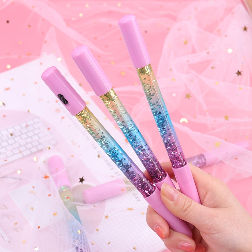 0 35mm Rainbow Creative Color Gel Pen Fairy Stick Gel Pens Drift Sand LED Lamp Glitter Crystal Pen for Girl Gift Stationery in Gel Pens from Office School Supplies