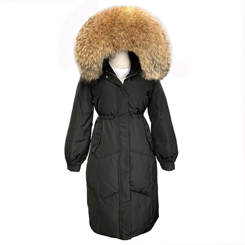 White Duck Down Hooded Jacket For Women Winter Real Fur Collar Long Parka Coats Thicken Natural Fur Outerwear LJ0621