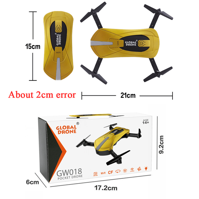 Global Drone GW018 Selfie Drone Fold portable Mini Pocket Drone 720P Camera Quadcopter  Rc Helicopter Toy as JY018 VS JJRC H37