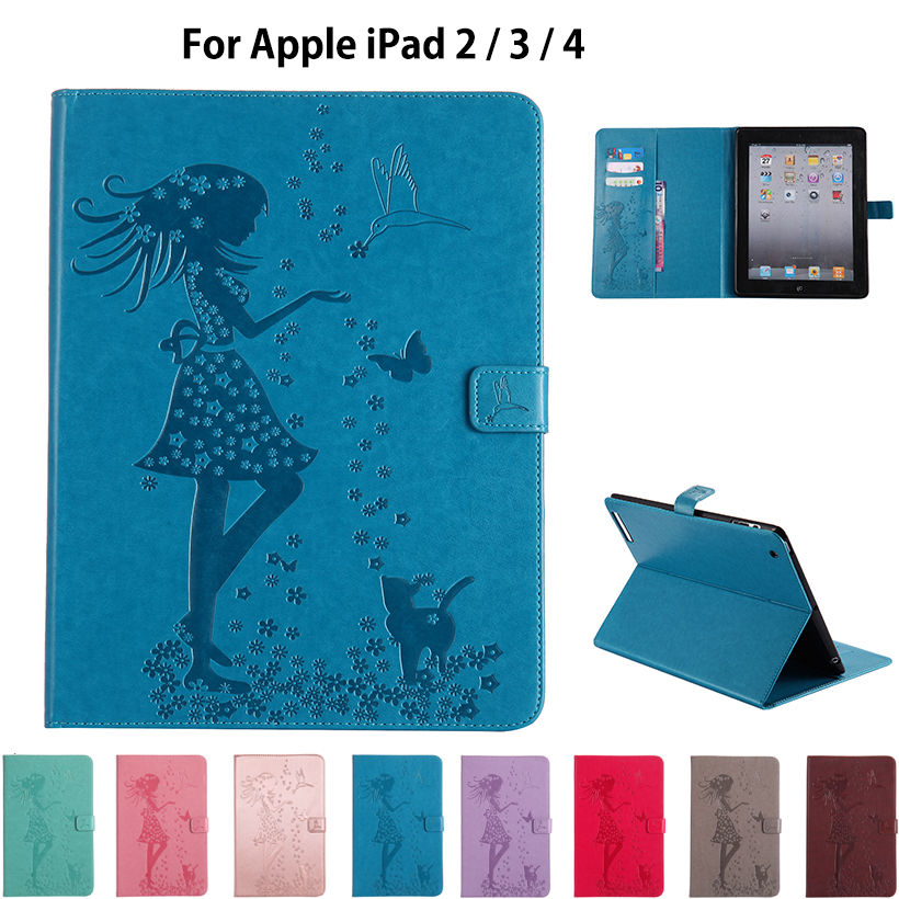 For Apple iPad 2 3 4 Case High quality Girl Cat Embossed PU Leather Flip Stand Case For iPad2 iPad3 iPad4 Cover Funda Skin Shell embossed tpu gel shell for ipod touch 5 6 girl in red dress