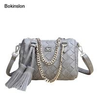 Bokinslon Brand Handbags Woman PU Leather Tassel Shoulder Bags Women Fashion Popular Ladies Weave Small Crossbody