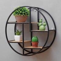 Retro Round Wooden Metal Wall Hanging Shelf Office Sundries Art Storage Rack Home Wooden Decorative Craft Holder Racks