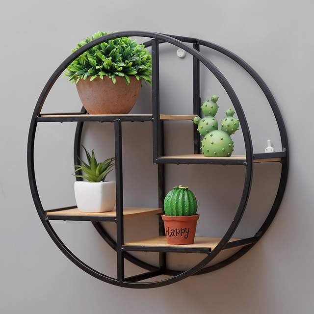 Retro Round Wooden Metal Wall Hanging Shelf Office Sundries Art Storage Rack Home Decorative Craft