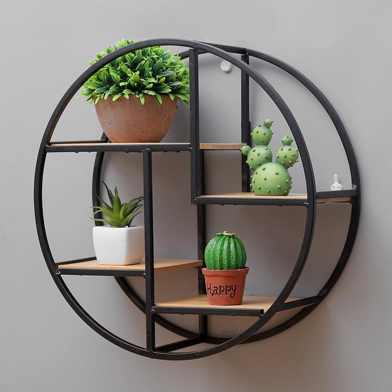Retro Round Wooden Shelf Metal Wall Hanging Shelf Office Sundries Art Storage Rack Home Wooden Decorative