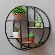 Ретро круглая деревянная полка металлическая настенная подвесная полка для офиса Sundries Art стеллаж для хранения дома деревянный декоративный держатель для рукоделия стойки