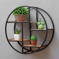 Retro Round Wooden Shelf Metal Wall Hanging Shelf Office Sundries Art Storage Rack Home Wooden Decorative Craft Holder Racks