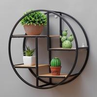 Retro Round Wooden Shelf Metal Wall Hanging Shelf Office Sundries Art Storage Rack Home Wooden Decorative Craft Holder Racks
